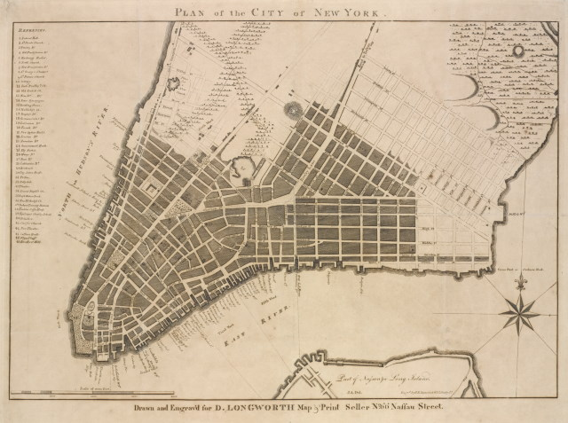 A meticulously-drawn line engraving of Lower Manhattan from around 1799