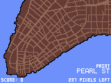 A meticulously-drawn pixel art of Lower Manhattan from around 1799. A small rectangle, representing a user's finger, moves from the lower-left to the lower-right and highlights Pearl Street in bright green.