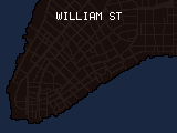 Pixelated text appearing character-by-character that reads: 'WILLIAM STREET: This street was either named in honor of William of Orange, a man who became King William III of England, or for William Beekman, a man who paid his taxes using beer.'