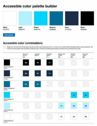 Screenshot of the accessible color palette builder application